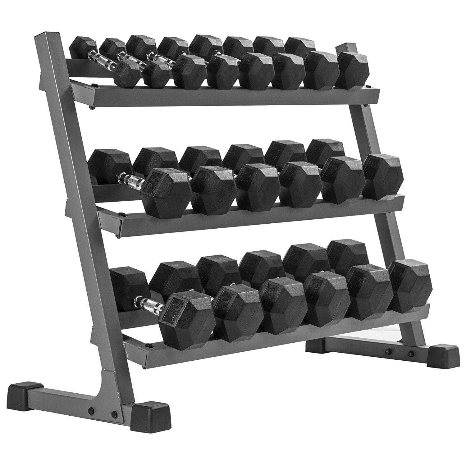 XMark's 550 lb. Premium Hex Dumbbell Set (10 Pair: 5 lb. to 50 lb. Pairs) with XMark's Heavy Duty Three Tier Dumbbell Rack (Gray or White Rack)